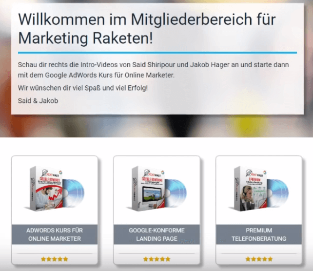 Marketing Rakete - Die Adwords Formel - System Übersicht - seriös? Said Shiripour & Jakob Hager