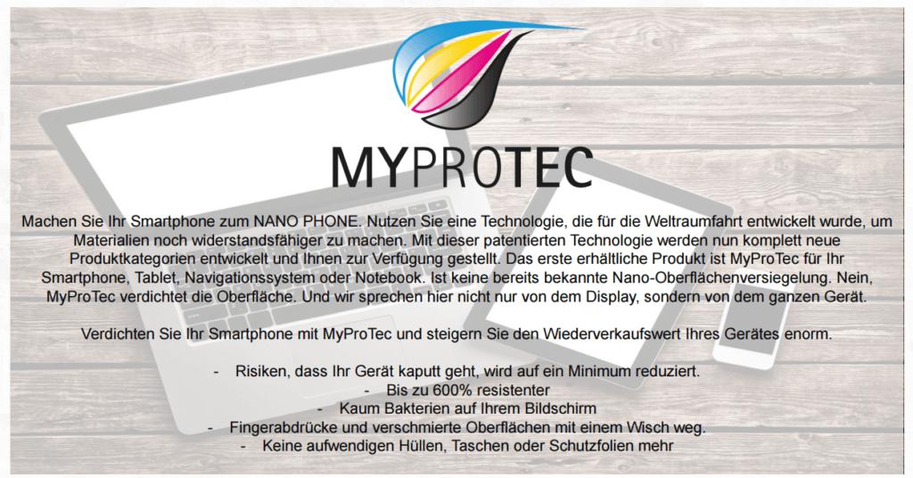 myprotec handy schutz, MyProtec Haertetest, myprotec Helmut Kaltenegger, myprotec Lotus Effekt, myprotec mlm, myprotec nano erfahrung