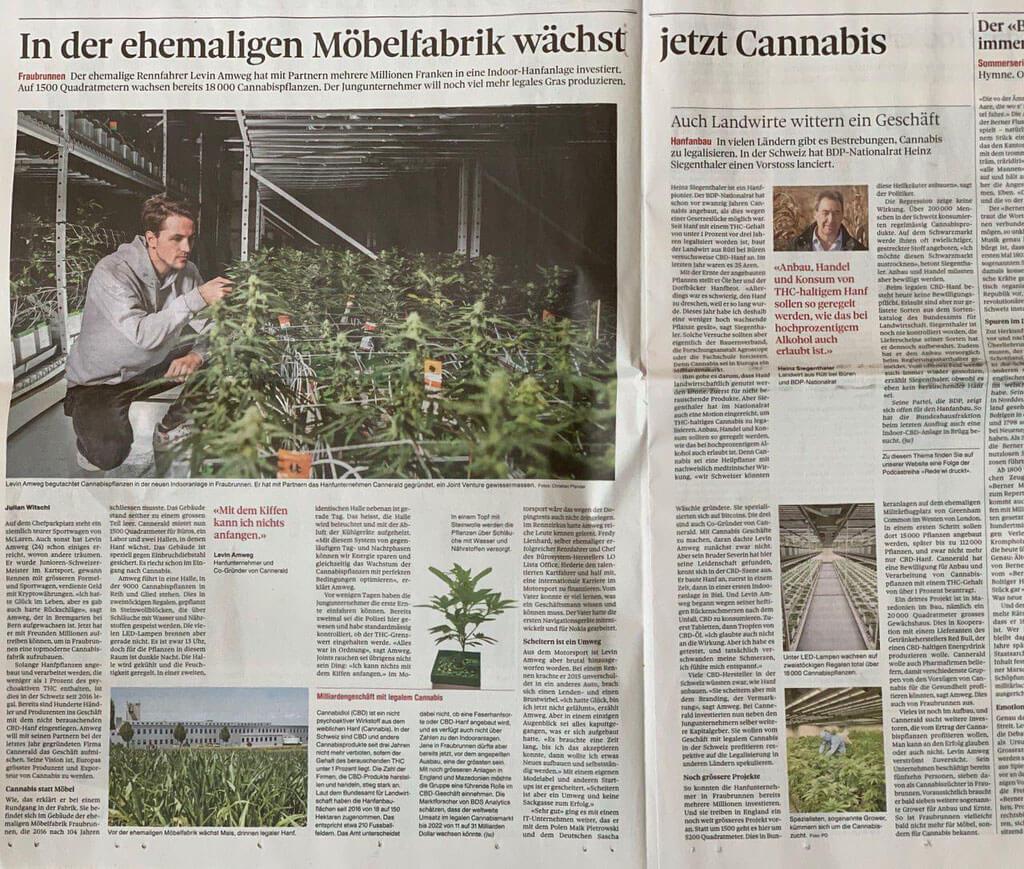 Fernsehbeitrag und Interviews, sowie bekannte Medien ueber Cannerrec, Cannermed, Cannerald Berner Zeitung